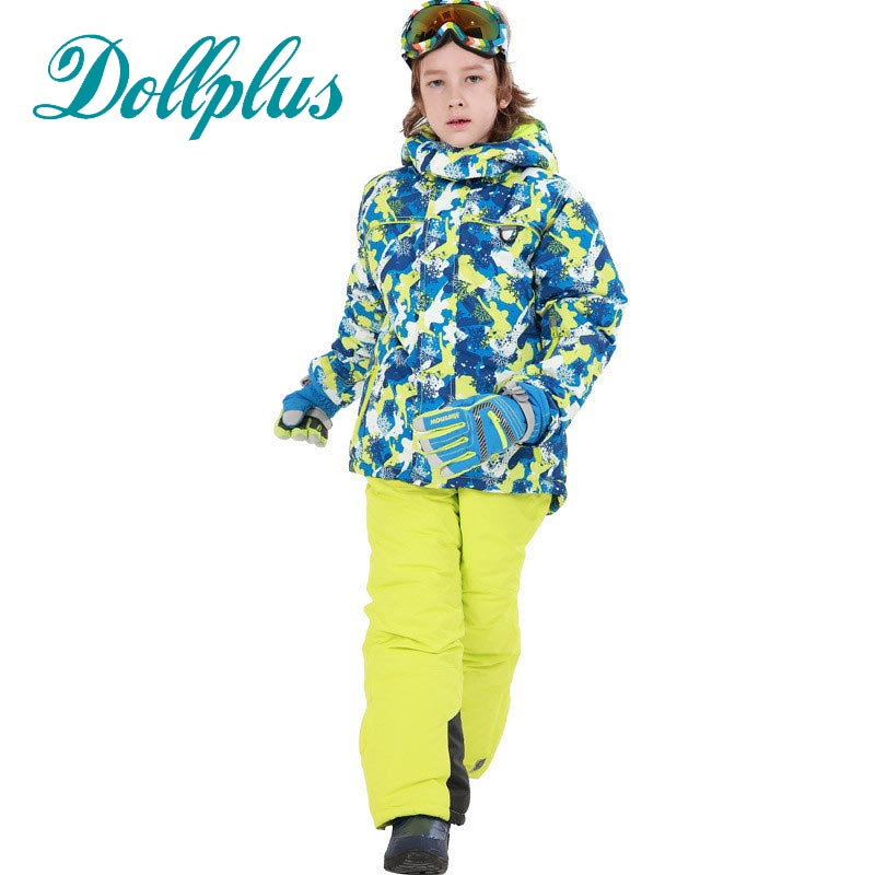 New Russian Winter Boys Clothing Set Windproof Boys Ski Jacket+Bib Pants 2 pcs Children Snow Ski Suit for 6-16Years