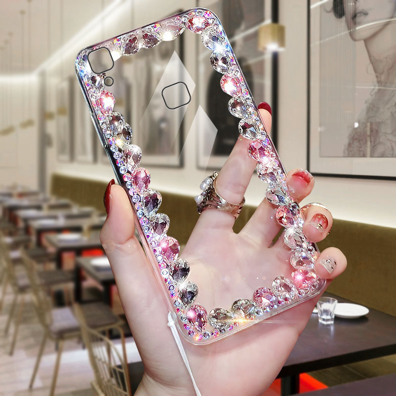 Mobile Phone <font><b>Case</b></font> For <font><b>VIVO</b></font> <font><b>V3MAX</b></font> Fashion Rhinestone Female Full Transparent With Lanyard Protective <font><b>Case</b></font> image