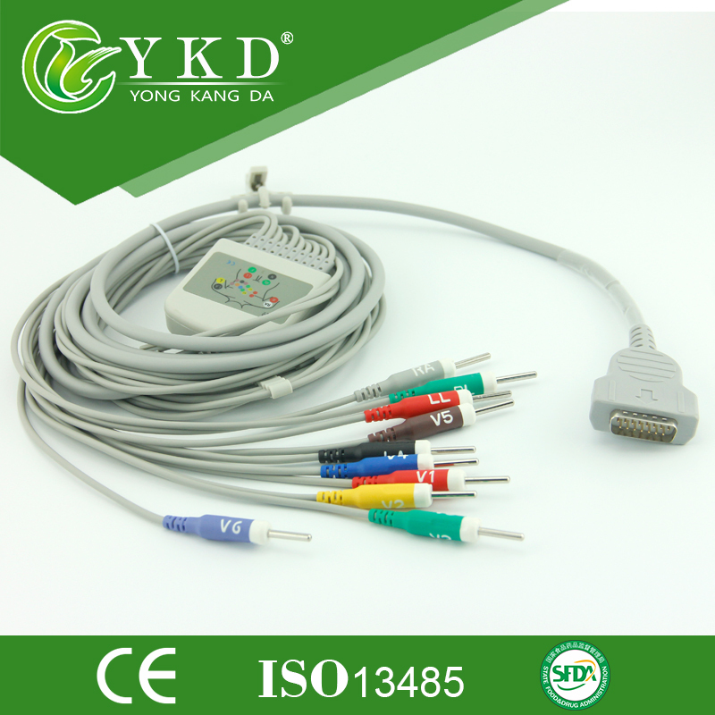 10/12 lead ecg/ekg cable for GE-Marqutte,Din 3.0,AHA,chinese supplier. new 10 lead patient ecg ekg cable for all schiller cardiovit machines