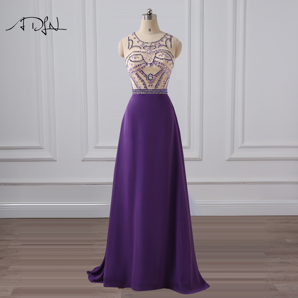 ADLN O-neck Purple   Evening     Dress   Sparkling Crystal Prom Party Gown Long Chiffon Plus Size Formal Occasion Wear Robe de Soiree