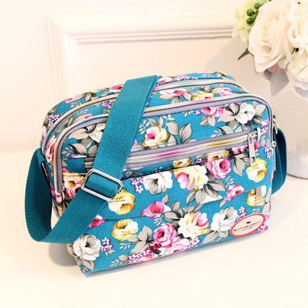 Canvas Casual Flower Printed Multifunction Crossbody Shoulder Messenger Bag Make Up Bag Sac De Dames