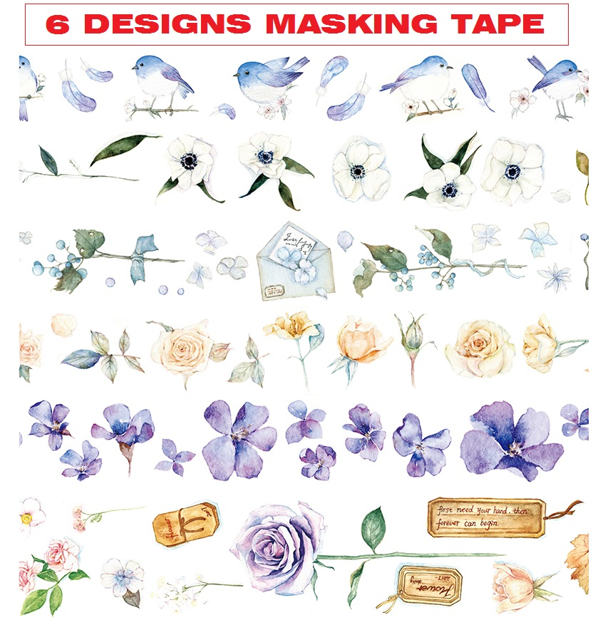 6 Designs Letters/Rose/Birds/Flowers/Feather/leaves Japanese Washi Tape Decorative Adhesive DIY Masking Paper Tape StickerGift