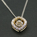 Fine Jewelry 100% 925 Sterling Silver Yellow Gold Plated Dancing CZ Crystal Pendant Necklace Women Pendant with Chain