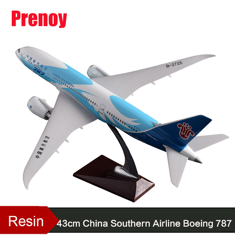 43cm Resin China Southern Airlines Aircraft Model B787 Airplane Model Boeing 787 Airways Airbus China Southern Model Stand Craft inflight china southern airlines b 5157 1 400 b737 800 commercial jetliners plane model hobby