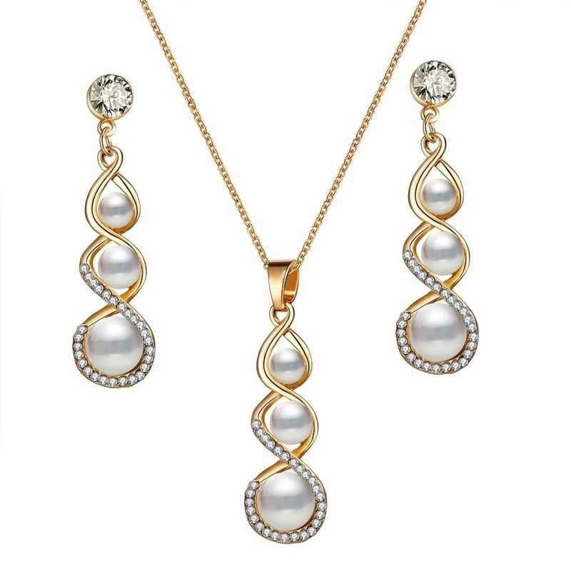 Fashion Crystal Pearl Jewelry Set For Women Wedding Necklace Earrings Bridal Bridesmaid Rhinestone Engagement Jewelry Charm Gift