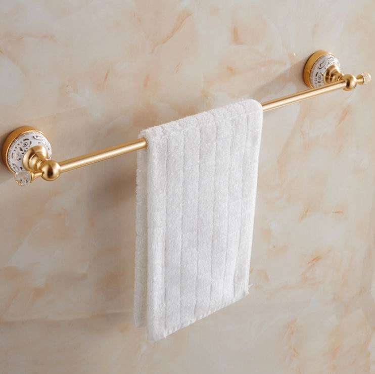 Free Shipping Gold-plating Towel Rack Single Bar Crystal Luxury Copper Golden Towel Holder Wall Mounted Bathroom Hardware Set free shipping brass & stone golden towel rack gold towel bar towel holder cy008s