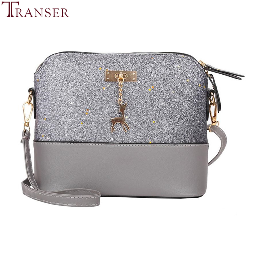 Transer Fashion Women Leather Splice Handbag Messenger Bag Small Shell Bags Famous Band Crossbody Bag Deer Spliced Sequins A9 30 metal deer detail crossbody bag
