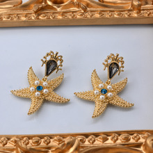 New baroque earrings  fashion star ocean inlaid pearl big crystal rhinestone bohemian