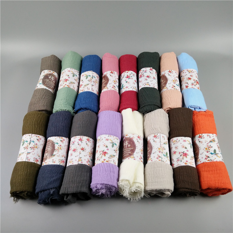 Crinkled hijab Wrinkle scarf Bubble cotton viscose scarf Crinkle Plain Shawl muslim Head Hijab Scarf bandana 10pcs/lot(China)