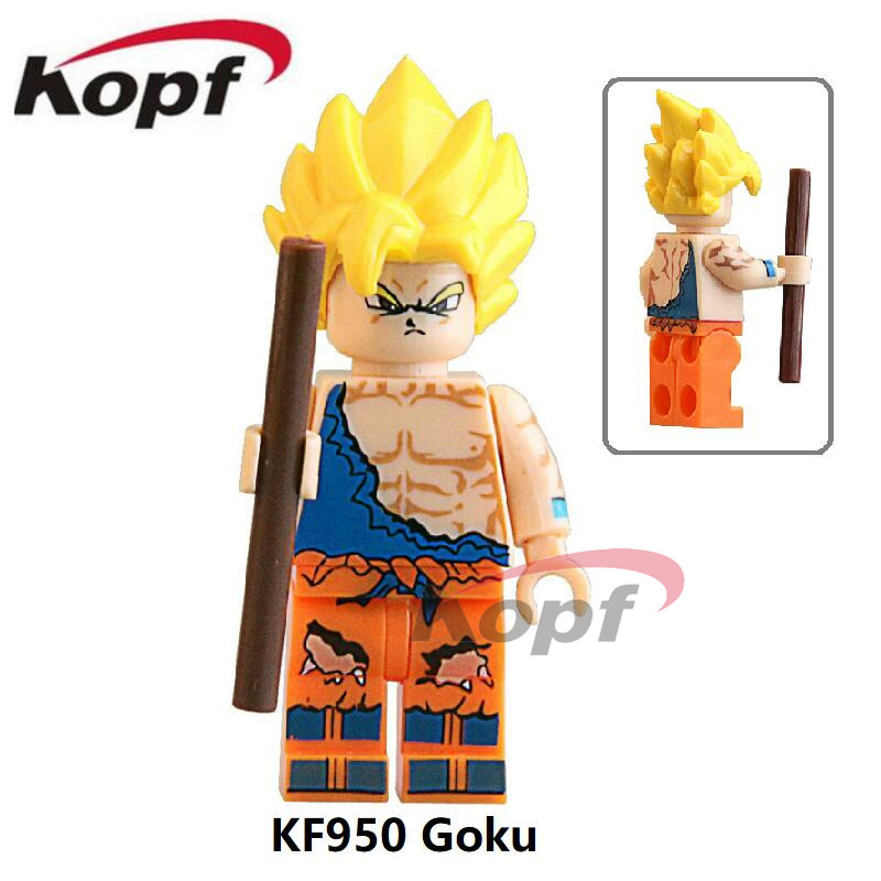 Single Sale KF950 Super Heroes Dragon Ball Z Son Goku Vegeta Yellow Hair Master Roshi Building Blocks Children Gift Toys jlb 33901 33906 dragon ball z son goku vegeta master roshi minifigures toys building blocks sets model bricks figures legoelieds