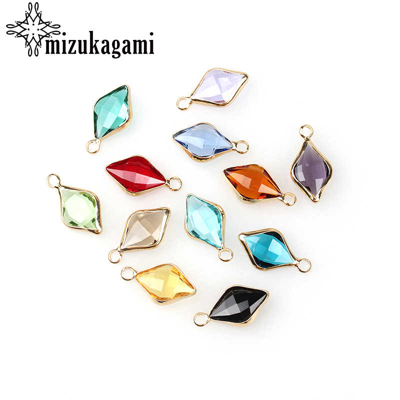12pcs/lot Shuttle shape Crystal Charms Beads 18*10MM For Glass Living Memory Locket DIY Necklace Bracelet Accessories