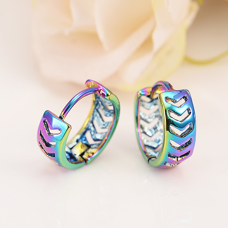 Bangrui Fashion Jewelry Womens Girls Yellow Colo Small Little Hoop Huggie Earings Vintage Openwork Flower Earrings For Mens Boys