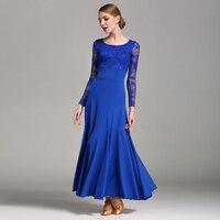 Standard Ballroom Dance Dresses High Quality Lace Sleeve Flamenco Dancing Skirt Women Cheap Stage Waltz Ballroom Dress
