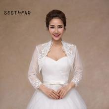 Elegant 2018 New Shares of women 3/4 long sleeve white lace shoulders cropped bolero jacket wedding white wedding wraps
