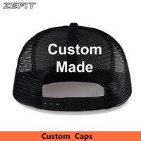 Custom Own Design Classic Trucker Hats Free Embroidery Printing Logo Adult Kids Size Flat Bill USA