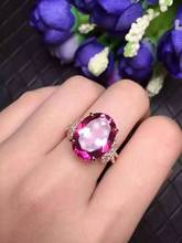 Natural red topaz stone Ring Natural gemstone Ring S925 sterling silver trendy Elegant big bow-knot women girl gift Jewelry