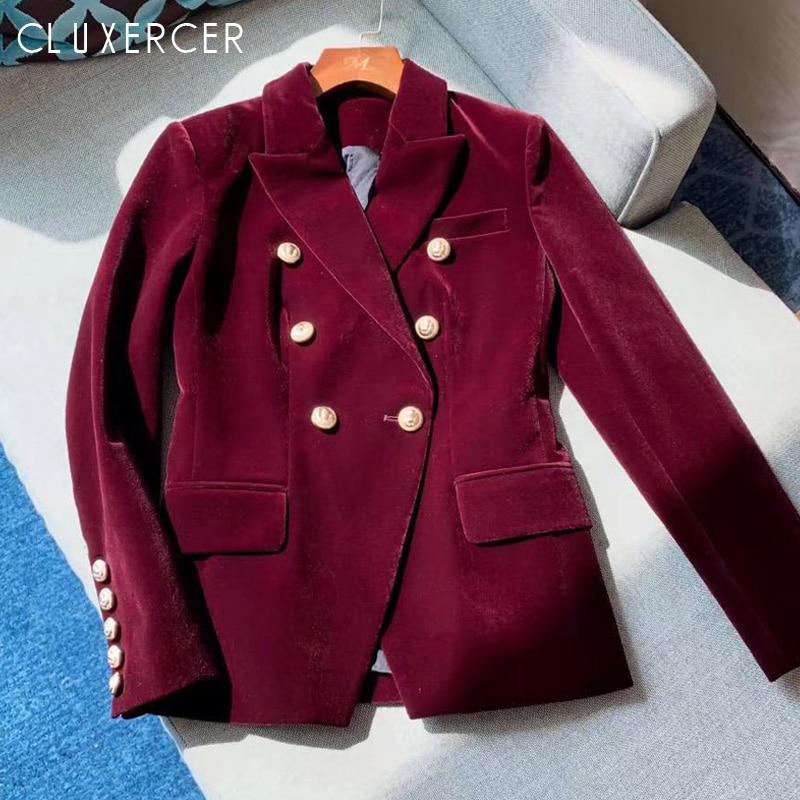 2020 New Spring Autumn Women Velvet Blazer Jackets Red wine Long Sleeve Korea Slim Female Jackets Casual Ladies Office Coat