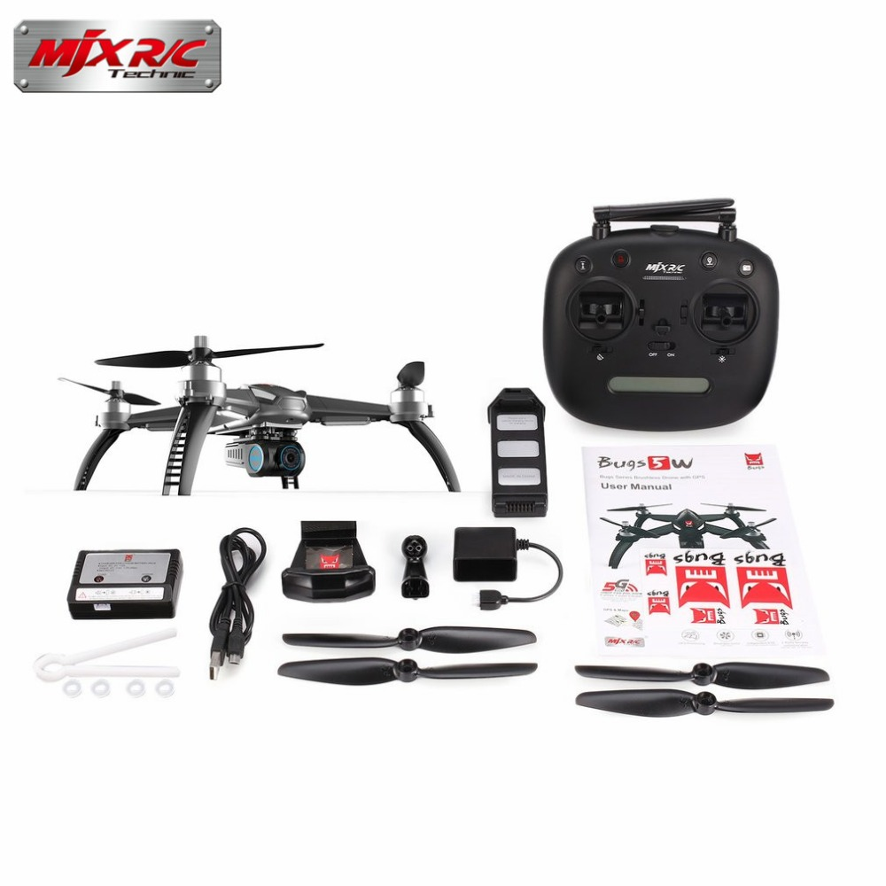 Drone with 1080P Camera MJX Bugs 5W B5W RC drone 5G Wifi Brushless Motor GPS FPV RC Quadcopter drone Auto Return RC Helicopter 7 4v 1800mah li po battery for mjx b5w bugs 5w rc quadcopter drone spare parts accessories mjx b5w battery b5w