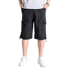 Summer Men Casual Shorts Black Army Green Khaki Dark Gray Multi Function Pockets Short Pant Man Comfort Straight Male pant