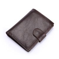 New Luxury Men's WalletGenuine Leather Wallets Tri-fold Short Currency Dollar Coin Purse Credit Card Passport Holder Hasp