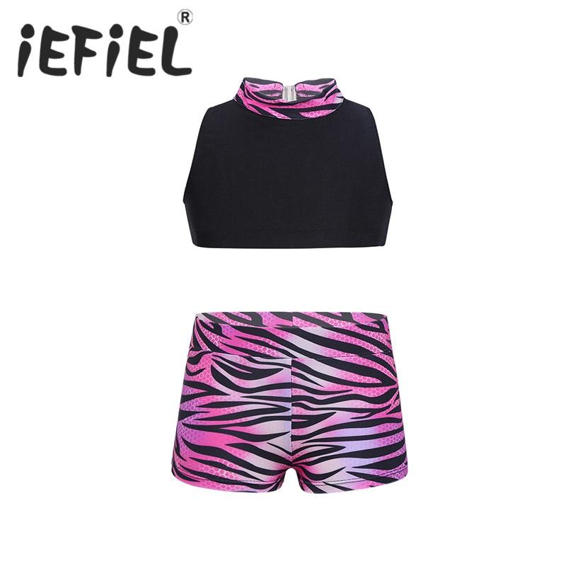 Little Kids Girls Child Dancewear Outfit Mock Neck Tank Top with Zebra-stripe Printed Bottoms Set for Ballet Dance Gym Workout