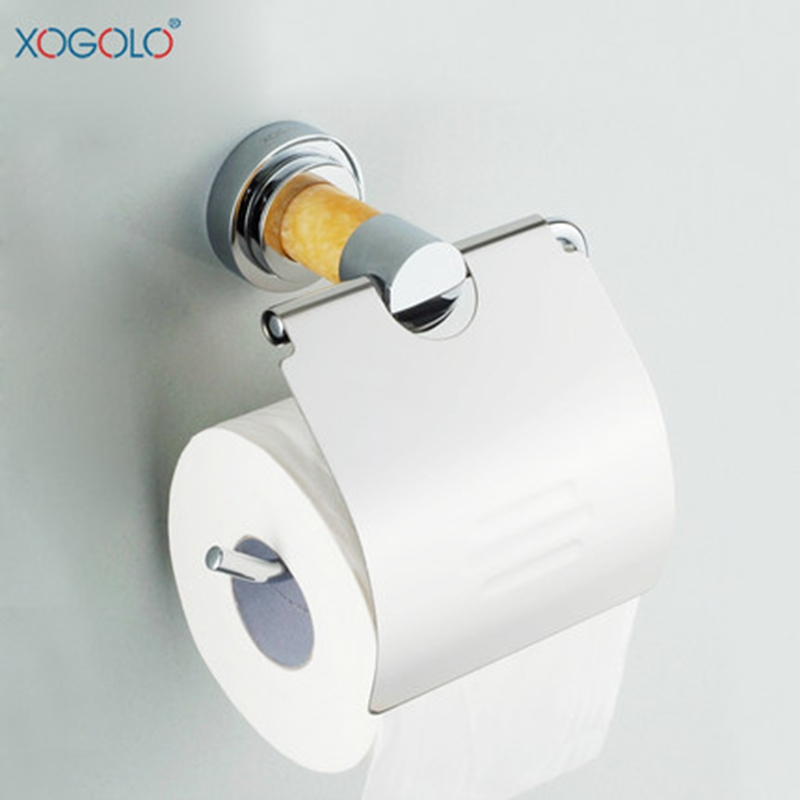 ФОТО Xogolo Polished Chrome Marble Mosaic Toilet Paper Holder Towel Paper Roll Holder Bathroom Accessories Wholesale And Retail