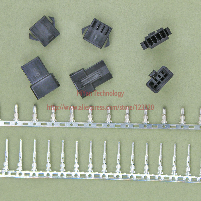 (100sets/lot) connectors SM SM2.54 4Pin Pitch:2.54MM Female and Male Housing + terminals ...