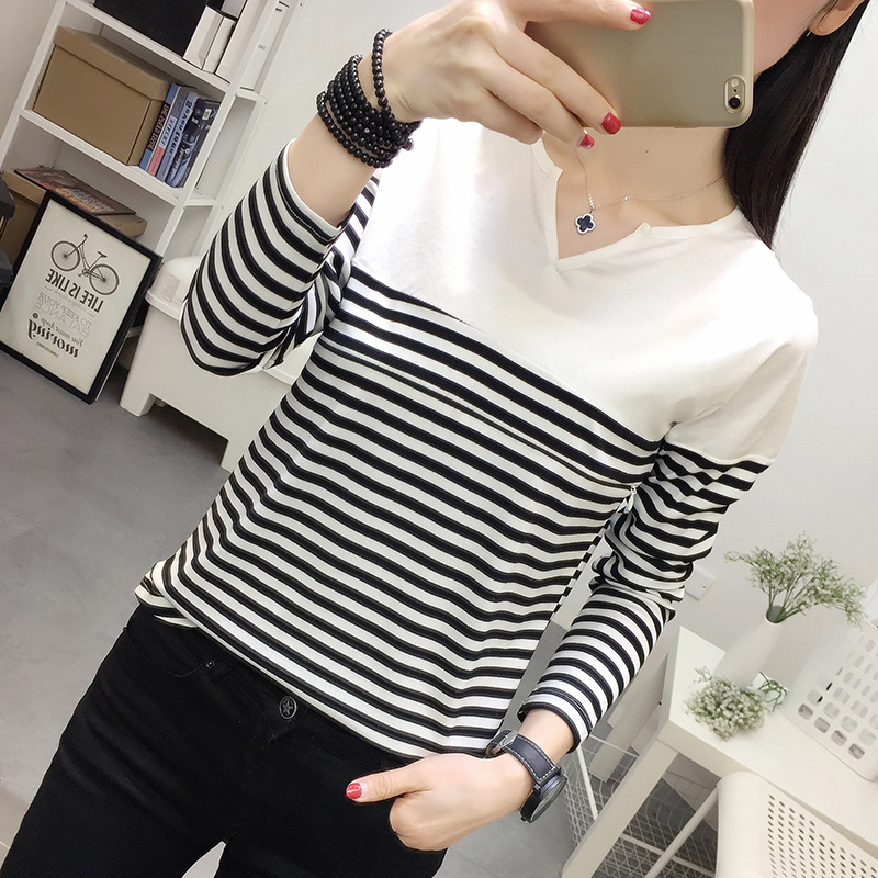 6239# V Neck Strip Cotton Patchwork Maternity Nursing T-shirt Autumn Breastfeeding Clothes For Pregnant Women Pregnancy T Shirt