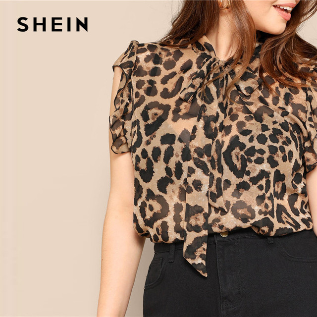 SHEIN Plus Size Women Blouses Tied Neck Sexy Leopard Print Sheer Sleeveless Blouse Ruffle Trim Shoulder Summer Thin Tops Blouses 3