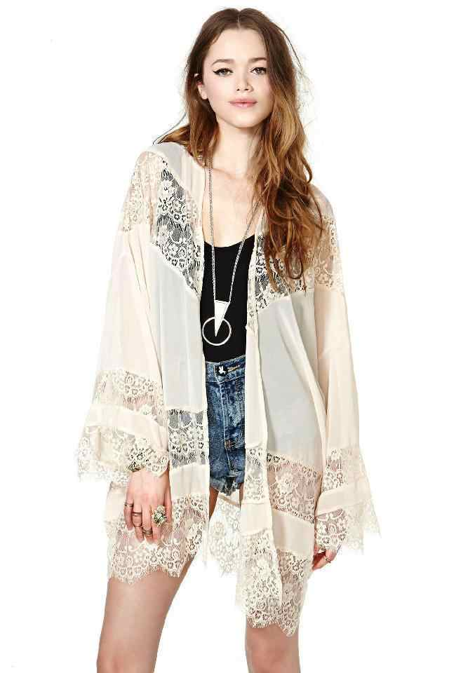 2018 New On Sale Summer Top Femme Sex Lace Beach Shirt Chiffon Blouse Women Kimono Long Boho Cardigan camisetas mujer 426