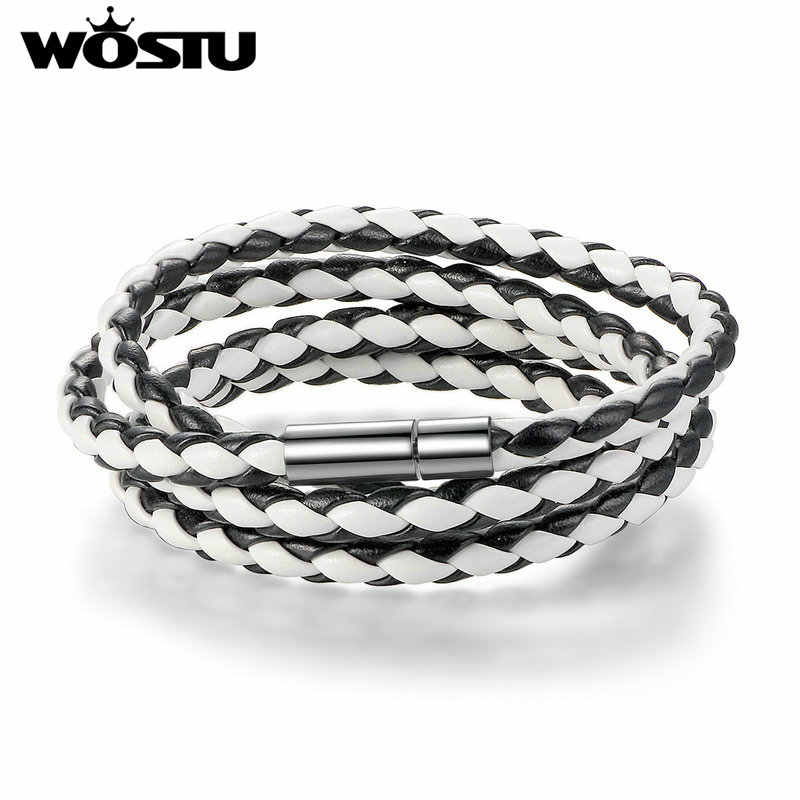 WOSTU 2019 gorąca sprzedaż 6 kolor 60CM PU Leather Wrap bransoletka z zapięcie magnetyczne wysokiej jakości biżuteria dla kobiet mężczyzn Pulseira XCJ0063