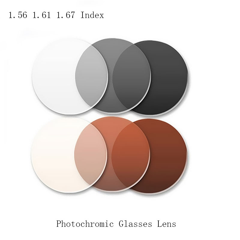 2Pcs 1.56 1.61 1.67 Index Single Vision Aspheric Photochromic Prescription Glasses Lens Optical Myopia Presbyopia Glasses Lens