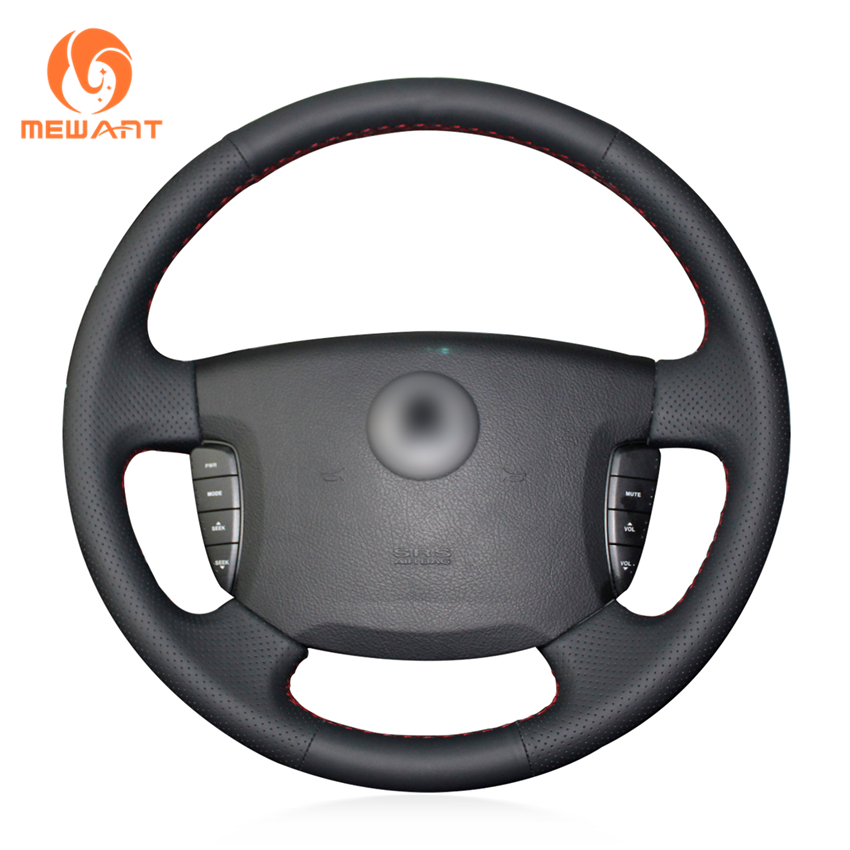MEWANT Black Genuine Leather Car Steering Wheel Cover for Actyon