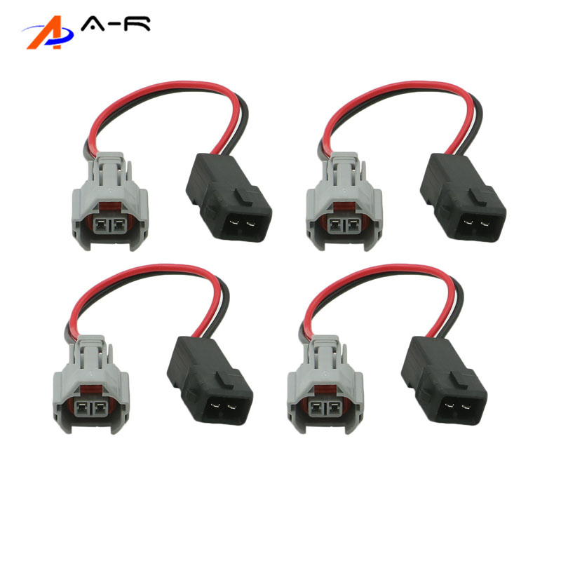 Set of 4 DENSO Female to EV1 A Adapter Male Plug Fuel Injector Adapters
