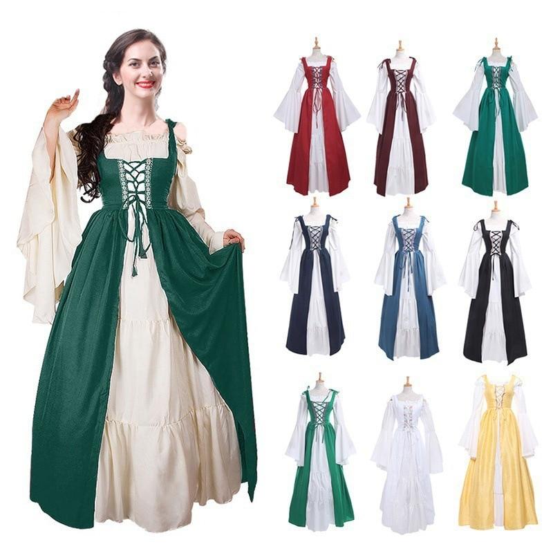 2018 Medieval Renaissance Dress Cotton Long Maxi Dresses Gowns Victorian Gothic Vintage Long Sleeve Renaissance Costume