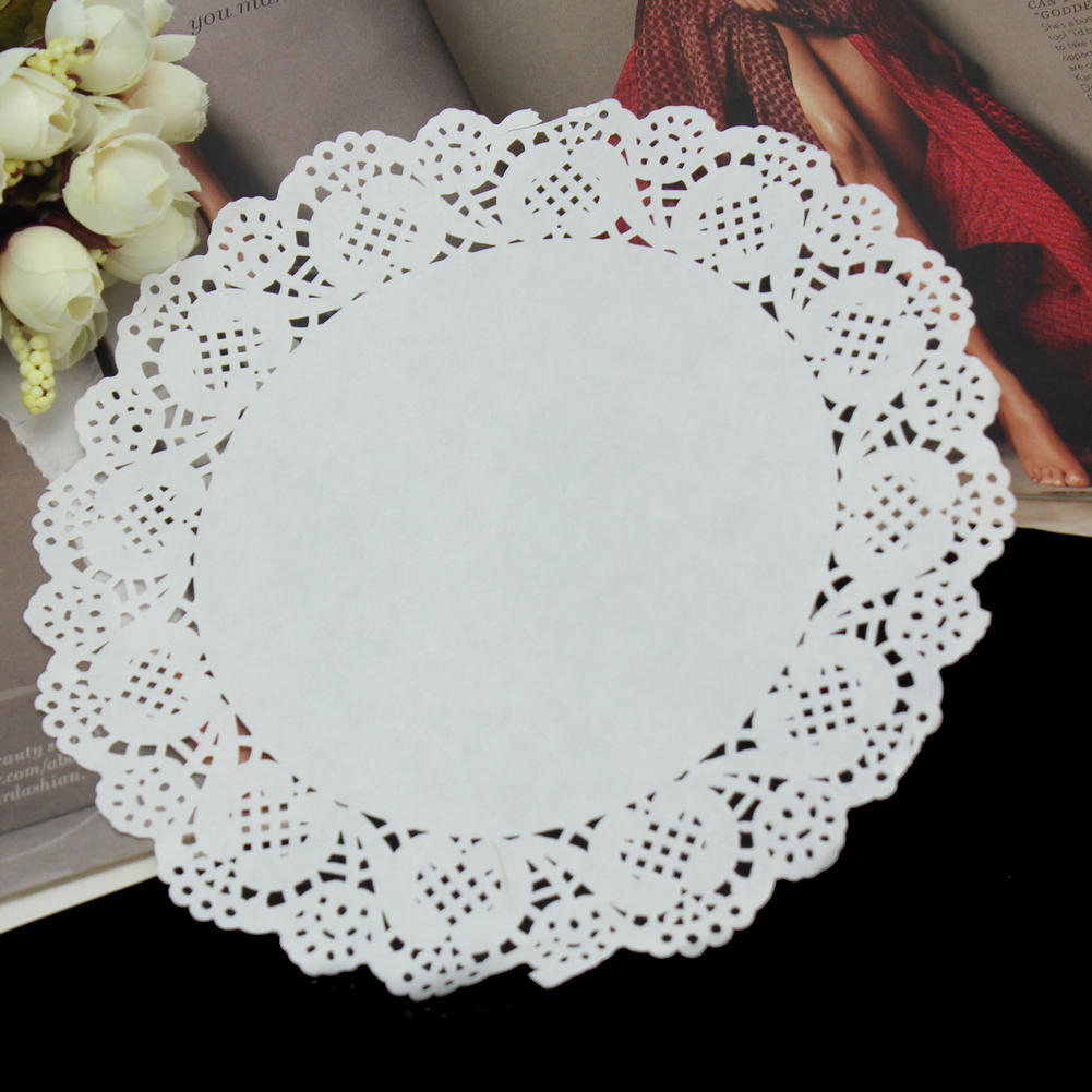 new 50pcslot beautiful white 19cm round lace paper cake doilies placemat craft home wedding party prom table diy decorations in mats pads from home