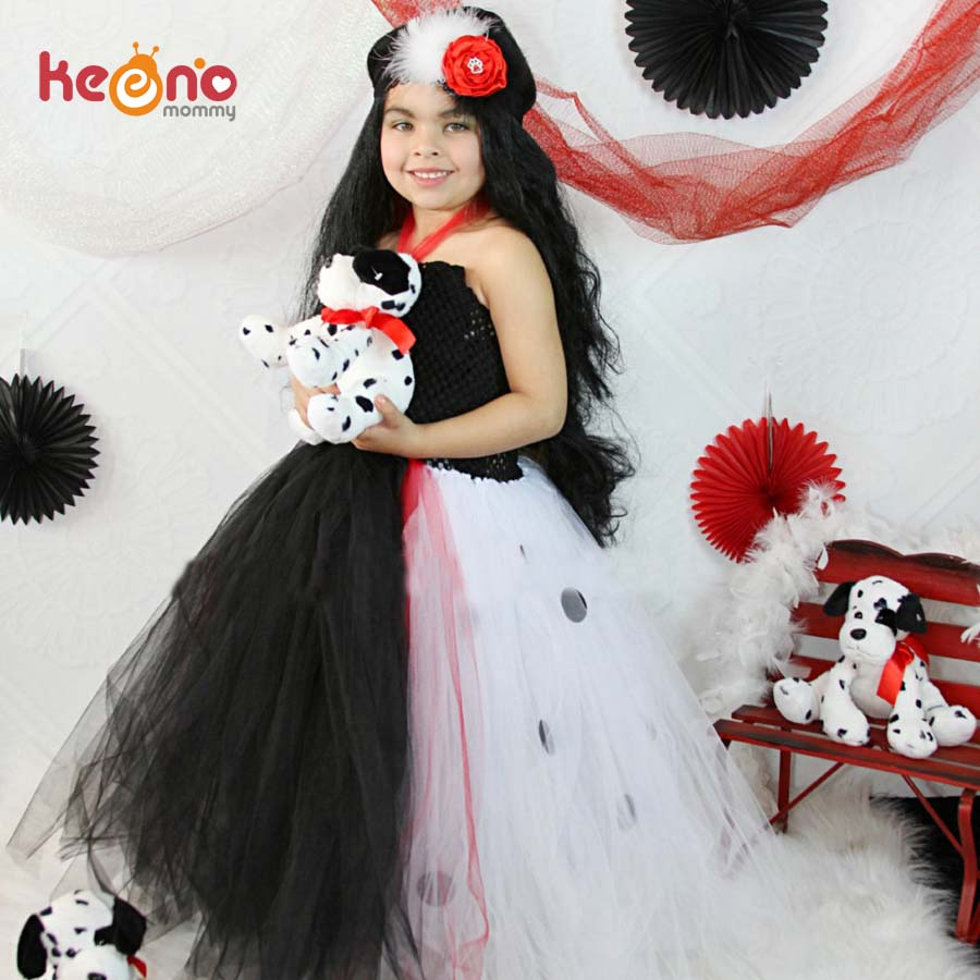 Dalmatian Queen Girls Tutu Dress with Headband Baby Photo Prop Halloween Costume Kids Children Tulle Party Dress TS108
