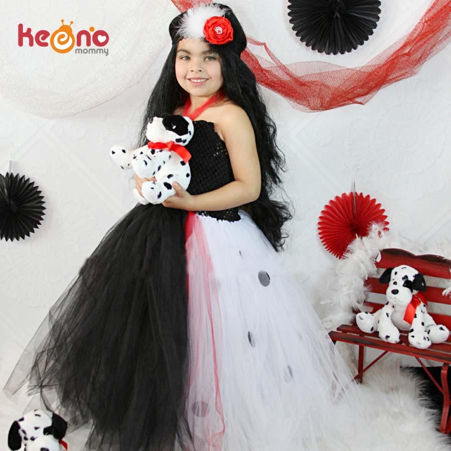 dalmatian queen girls tutu dress with headband baby photo prop halloween costume kids children tulle party - Halloween Tutu Dress