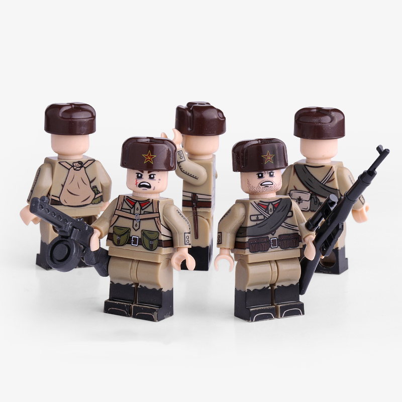 Single Sale WW2 Military Soviet Army Soldier Figures Building Blocks Toys Military Army Figures Blocks Toys For Children Gift