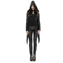 Punk Gothic Women's Brief Leather Coat Spring Winter Hooded Slim Fit Outerwear Coat Short Tassels Black Jacket