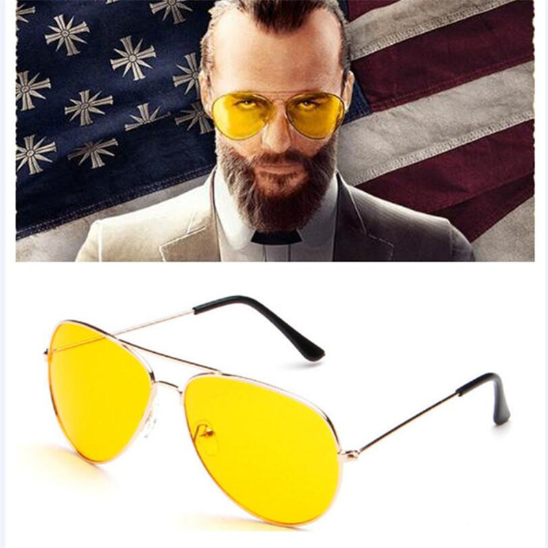 Game FAR CRY 5 Cosplay Props Sunglasses Preacher Joseph Seed Eyewear Yellow Cosplay Accessories Driver Glasses image