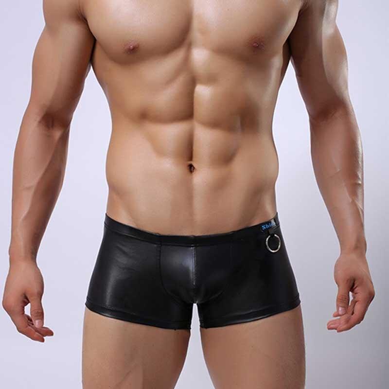 New Elastic PU Faux Leather Men's Boxer Shorts Fine Workmanship Fighter Soft Fad Low Waist U Convex Pouch Gay Wear Plus Size