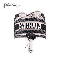 Little MingLou Infinity love Bachata Bracelet high heels Charm bracelets & bangles for Women men leather braid suede jewelry