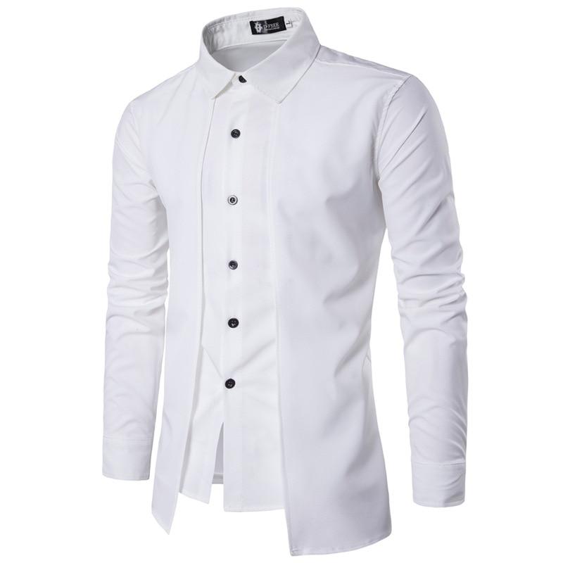 New Brand 2018 Men Shirt Fake Two Doors Dress Shirt Long Sleeve Slim Fit Camisa Masculina Casual Male Hawaiian Shirts 2XL benfica camisola 2020