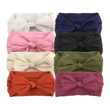Nishine Newborn Toddler Baby Girls Headwraps Bows Knot Nylon Turban Headband Hair Accessories Birthday Gifts