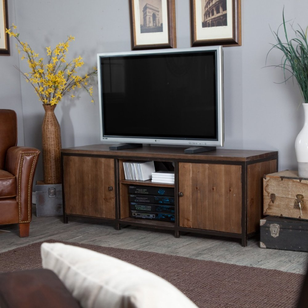 Living Room Cabinet Furniture: American Retro TV Cabinets, Wrought Iron Wood Living Room