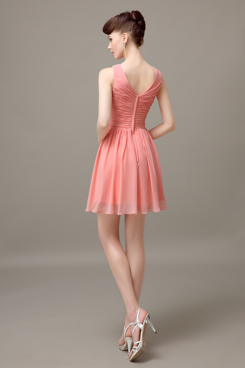 Custom bridesmaid dress picture more detailed picture about peach chiffon short v neck off shoulder bridesmaid dress simple cheap junior customized bridesmaid dress ombrellifo Choice Image