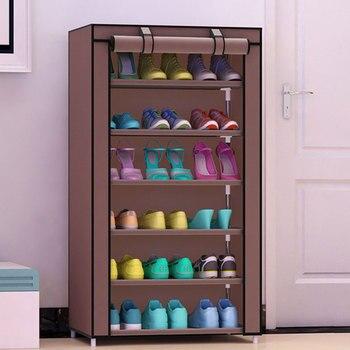 Simple sept couches résistant à la poussière chaussures stockage armoire créative bricolage vêtement en tissu non tissé chaussures organisateur étagère épaissir tuyau chaussures Rack
