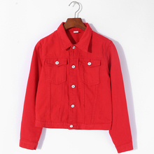 Autumn Candy Color Casual Short Denim Jeans Jacket and Coats for Women