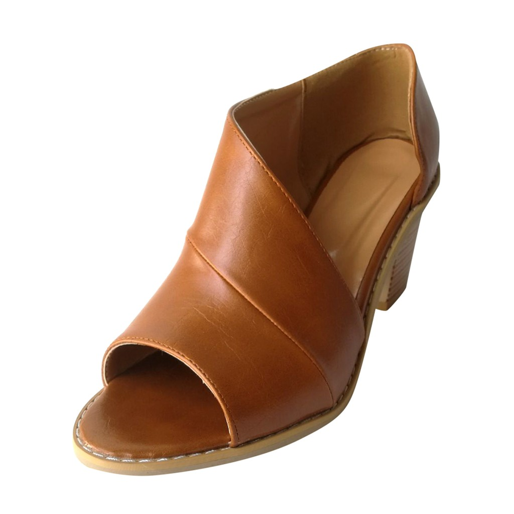 Jaycosin 2019 shoes Women Summer Sandals  Slip-On Open Toe Plain Coarse Heel Hollow Sandal Fish Mouth Casual Shoes 2